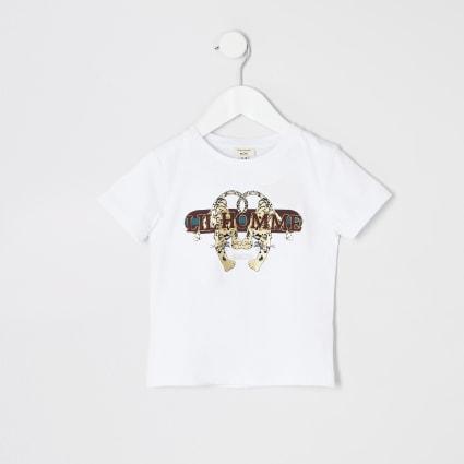 Boys 'Lil homme' tiger print T-shirt