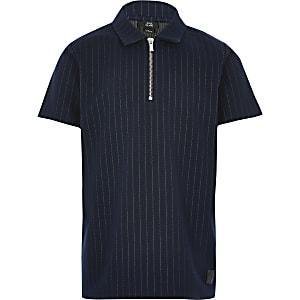Polo bleu marine à fines rayures avec col zippépour garçon