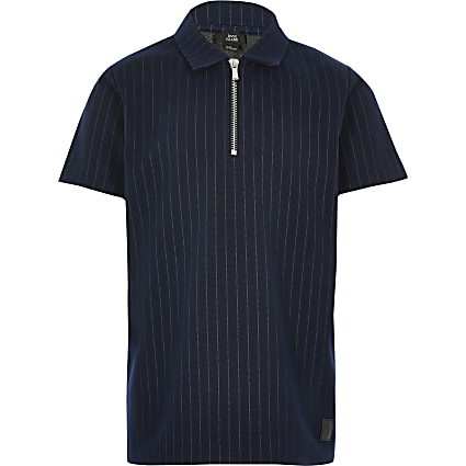 Boys navy pinstripe zip polo shirt