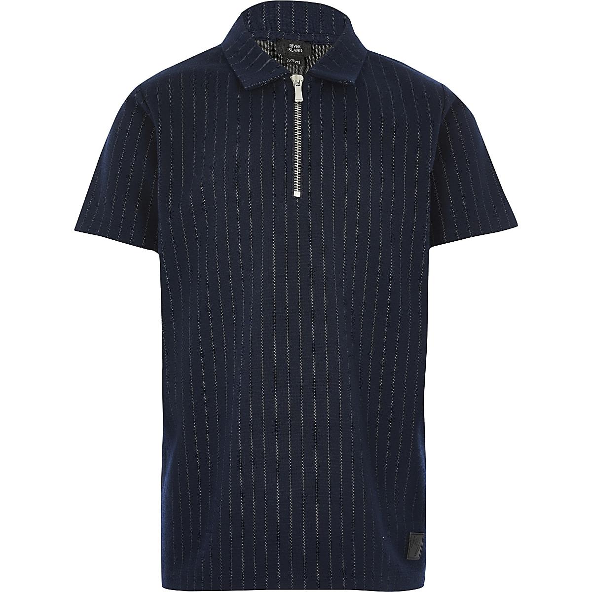 Marineblauw Poloshirt met rits en krijtstreep voor jongens