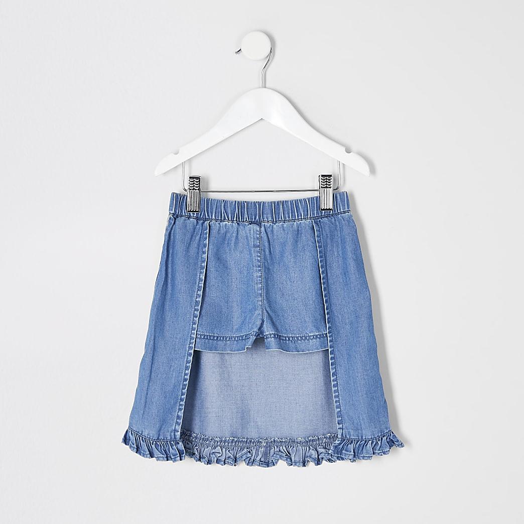 Mini girls blue denim frill skort