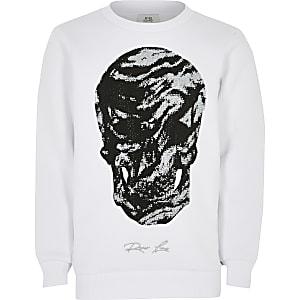 Wit sweatshirt met studs en doodshoofdprint voor jongens