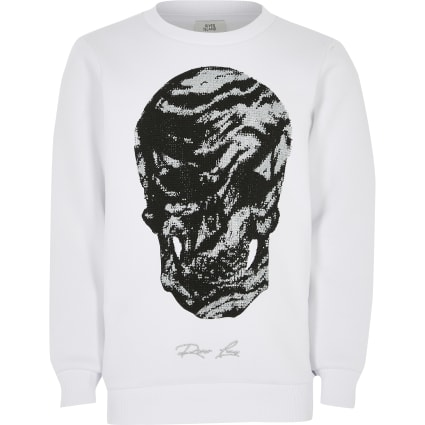 Boys white skull studded sweatshirt