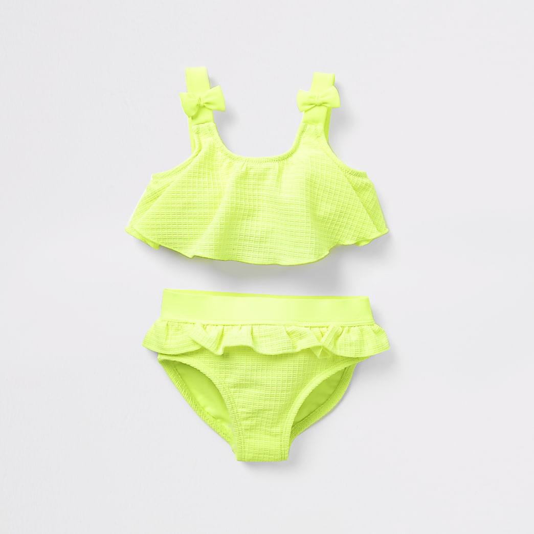 Mini girls neon yellow waffle bow bikini set