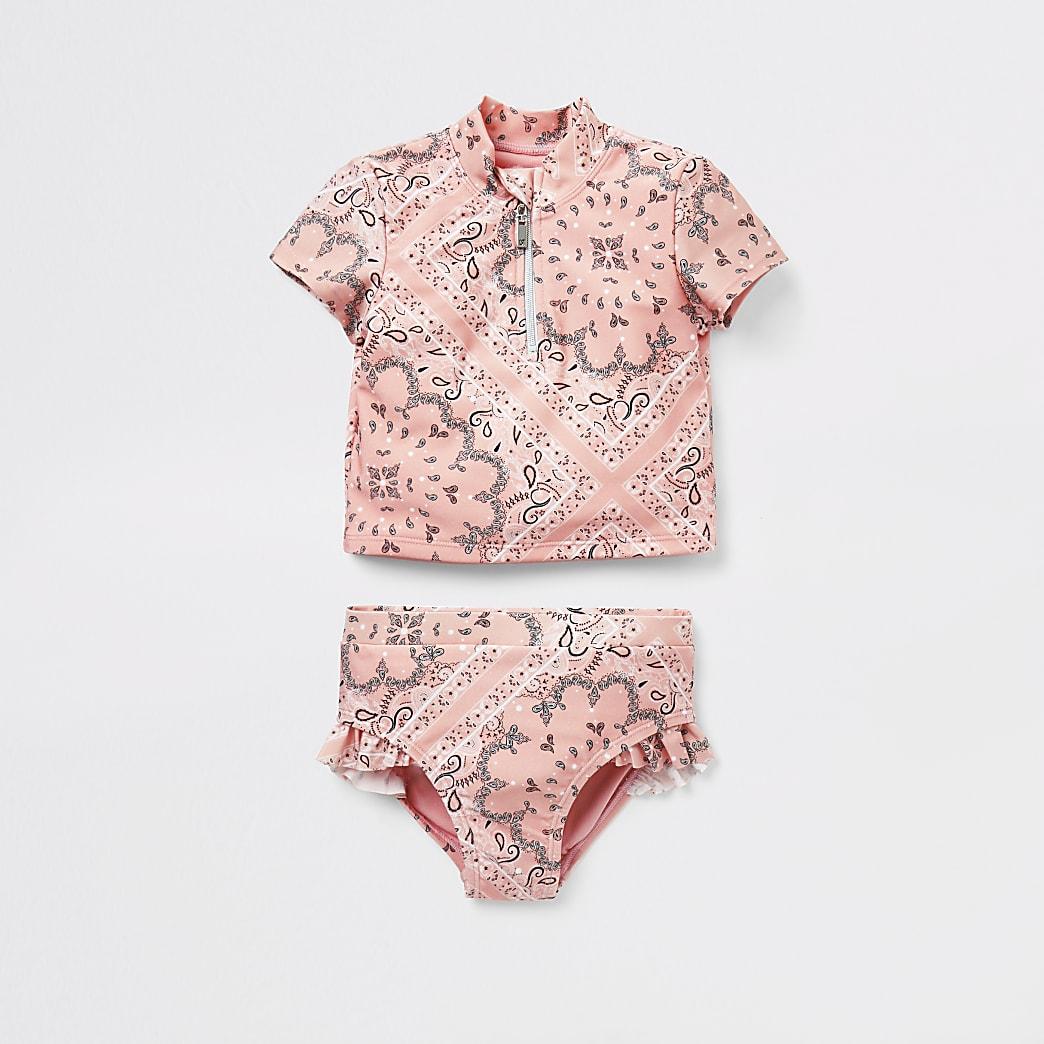 Mini - Roze zwempak set met bandana-print voor meisjes