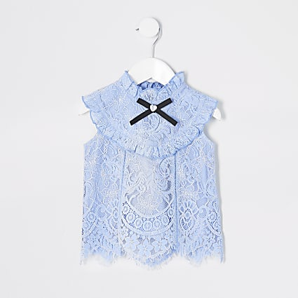 Mini girls light blue lace frill top