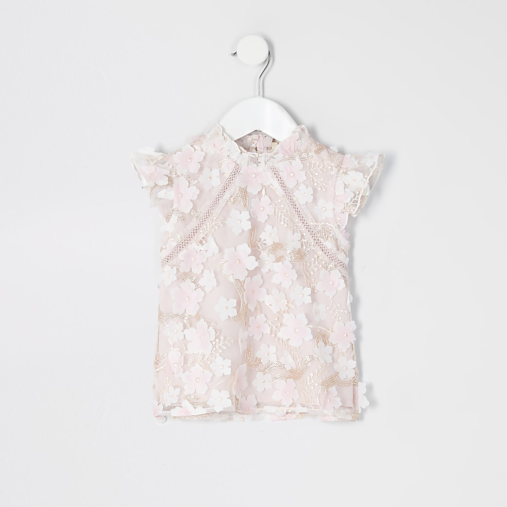 Mini girls pink flower lace embellished top