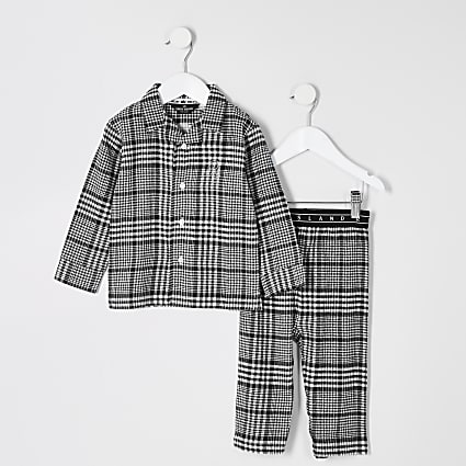 Mini boys grey check RI pyjama outfit