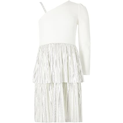 Girls white one shoulder tiered frill dress