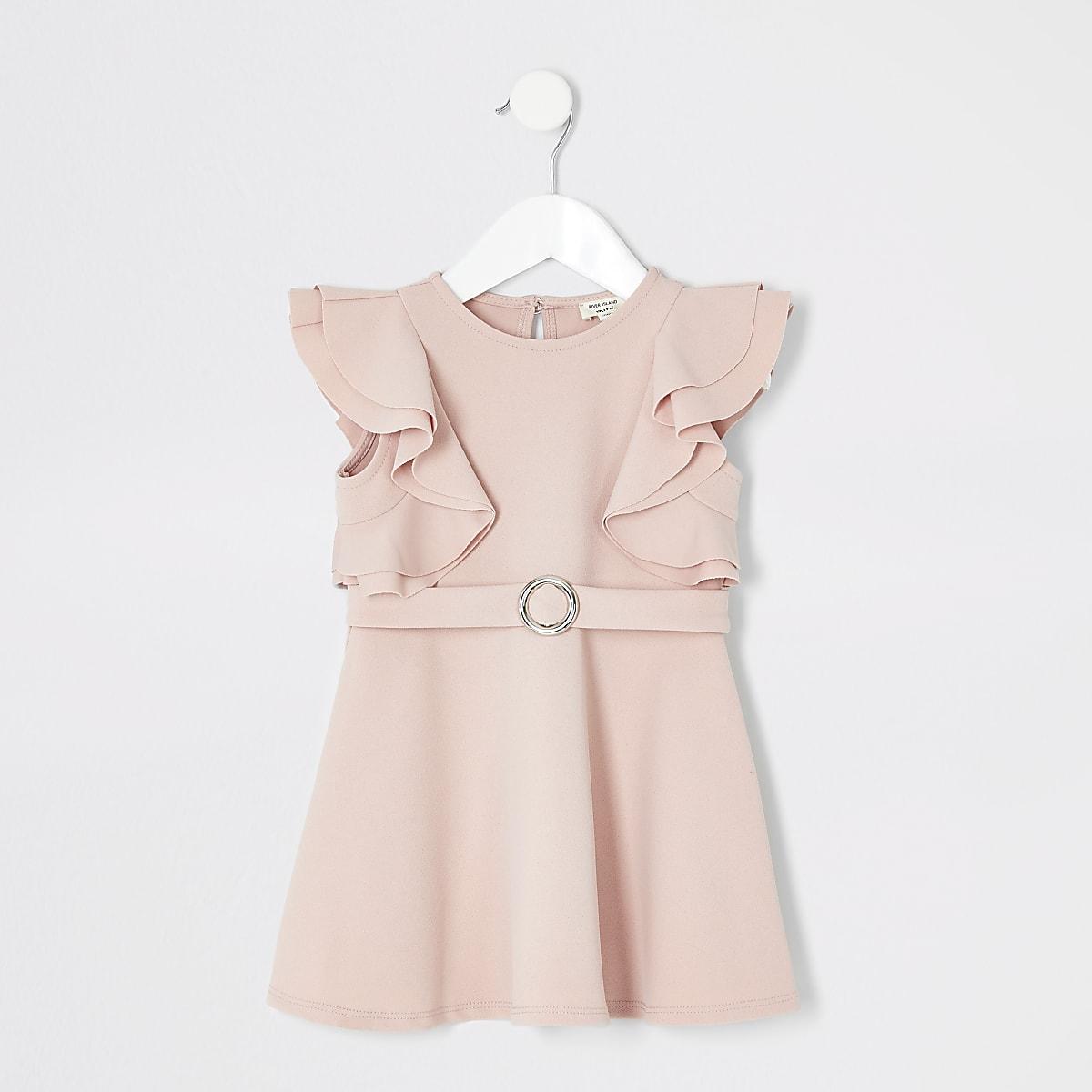 Mini - Roze jurk met ruches en ceintuur voor meisjes