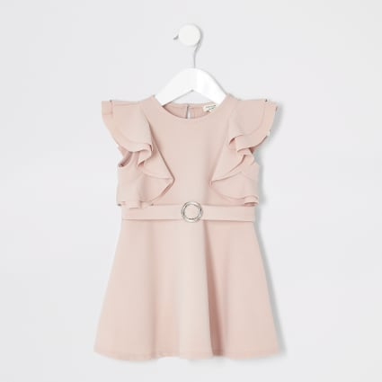 Mini girls pink ruffle belted dress