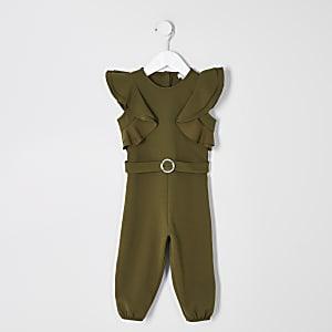 Overall mit Gürtel und Rüschen für kleine Mädchen in Khaki
