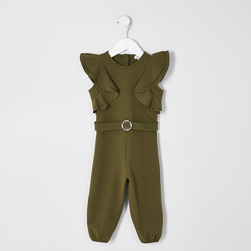 Mini girls khaki ruffle belted jumpsuit