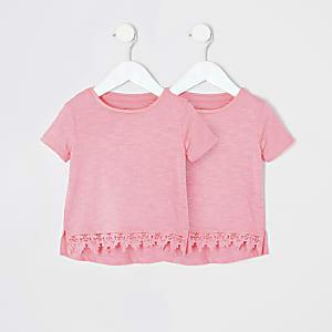 Mini - Set van2 roze T-shirts met gehaakte zoom voor meisjes