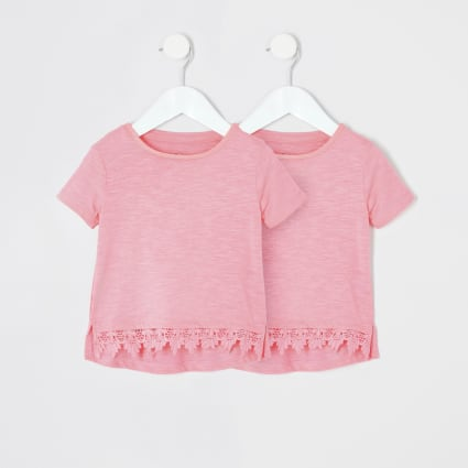 Mini girls pink crochet hem T-shirt 2 pack