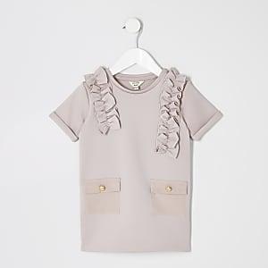 Robe chemise utilitaire rose en néoprèneMini fille