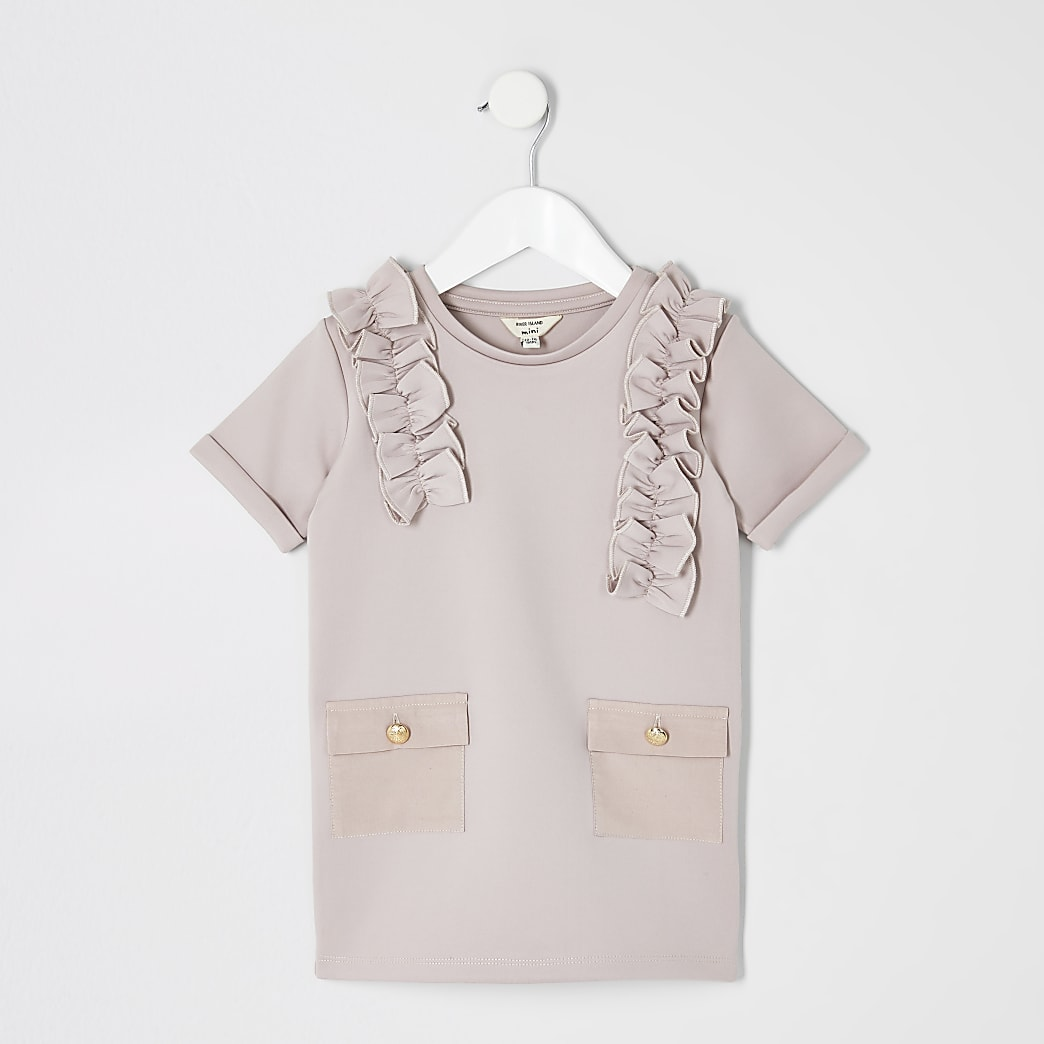 Mini girls pink scuba utility shirt dress