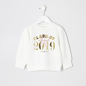 Mini - Wit sweatshirt met 'Class of2019'-print voor meisjes