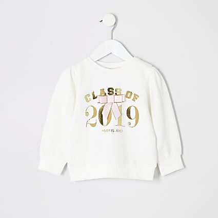 Mini girls 'Class of 2019' white sweatshirt