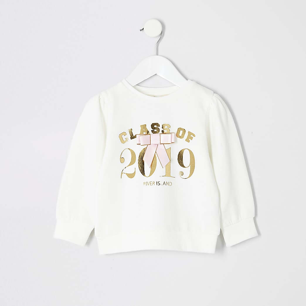 Mini girls 'Class of 2019' white sweatshirt