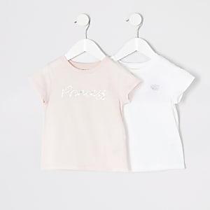 "Mini – Pinkes T-Shirt ""Princess"" für Mädchen, 2er-Set"