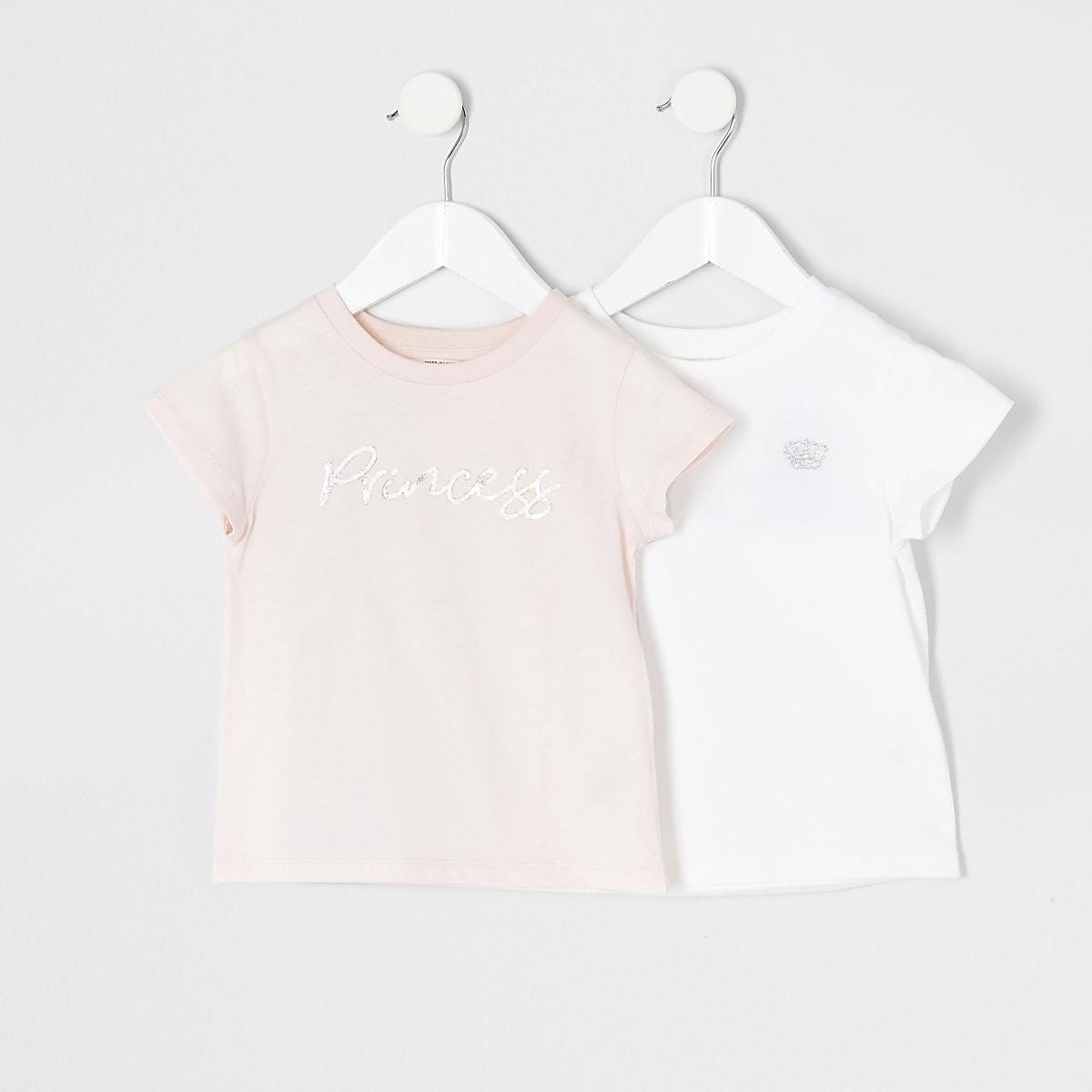Mini girls pink 'Princess' T-shirt 2 pack