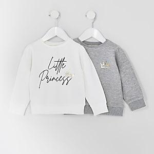 Mini - Set van 2 sweatshirts met 'Princess'-tekst voor meisjes