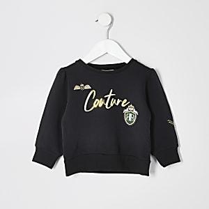 """Schwarzes Sweatshirt mit """"Couture""""-Abzeichen für kleine Mädchen"""
