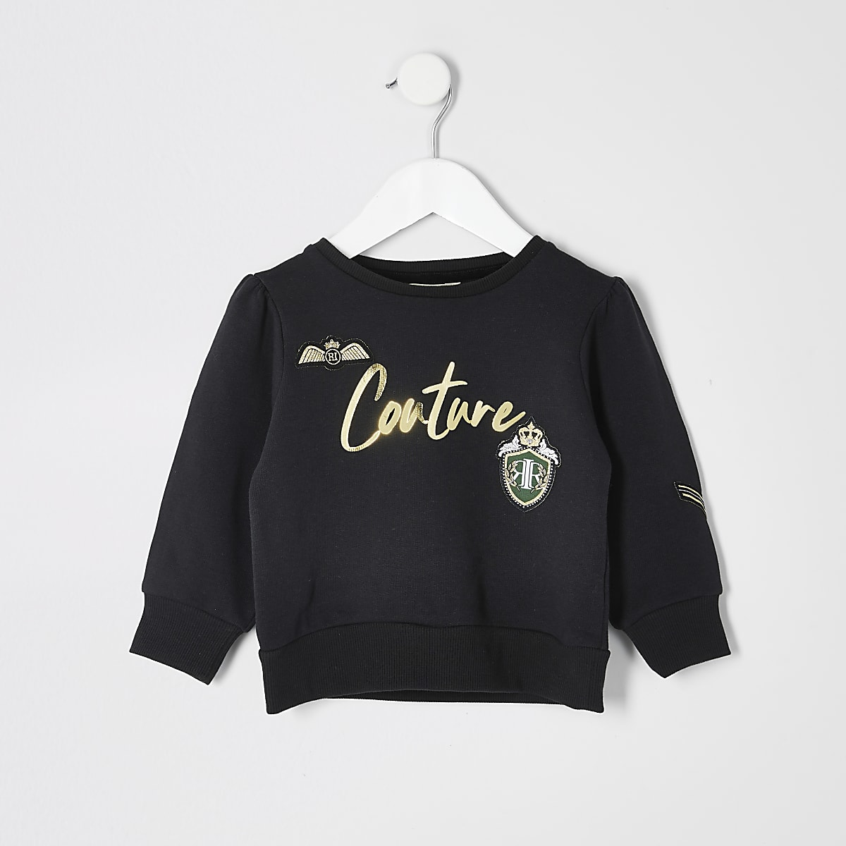 Mini girls 'Couture' badge black sweatshirt