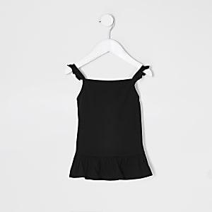 Mini– Schwarzes Trägertop mit Rüschen für Mädchen