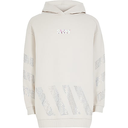 Girls cream 'Sassy' diamante longline hoodie