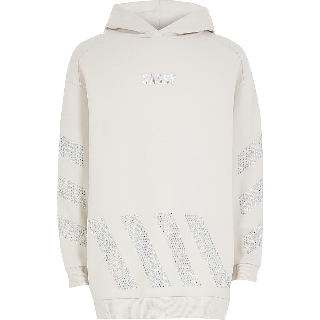 Crèmekleurige lange hoodie met 'Sassy'-siersteentjes voor meisjes