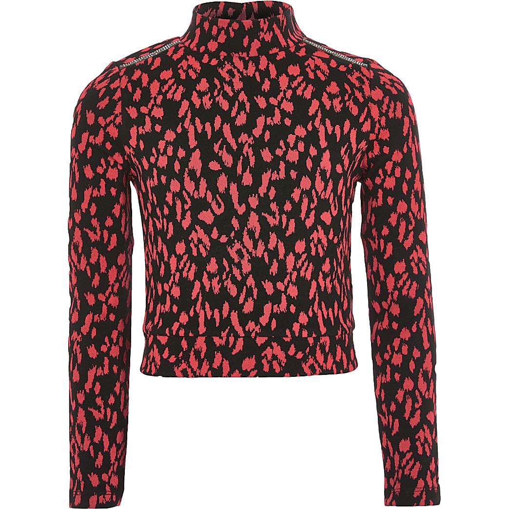 Girls neon pink leopard print high neck top