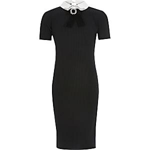 Zwarte geribbelde jurk met siersteentjes rond kraag voor meisjes