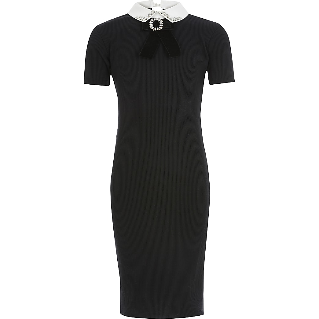 Girls black diamante collar ribbed dress