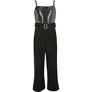 Girls black sequin frill waist jumpsuit