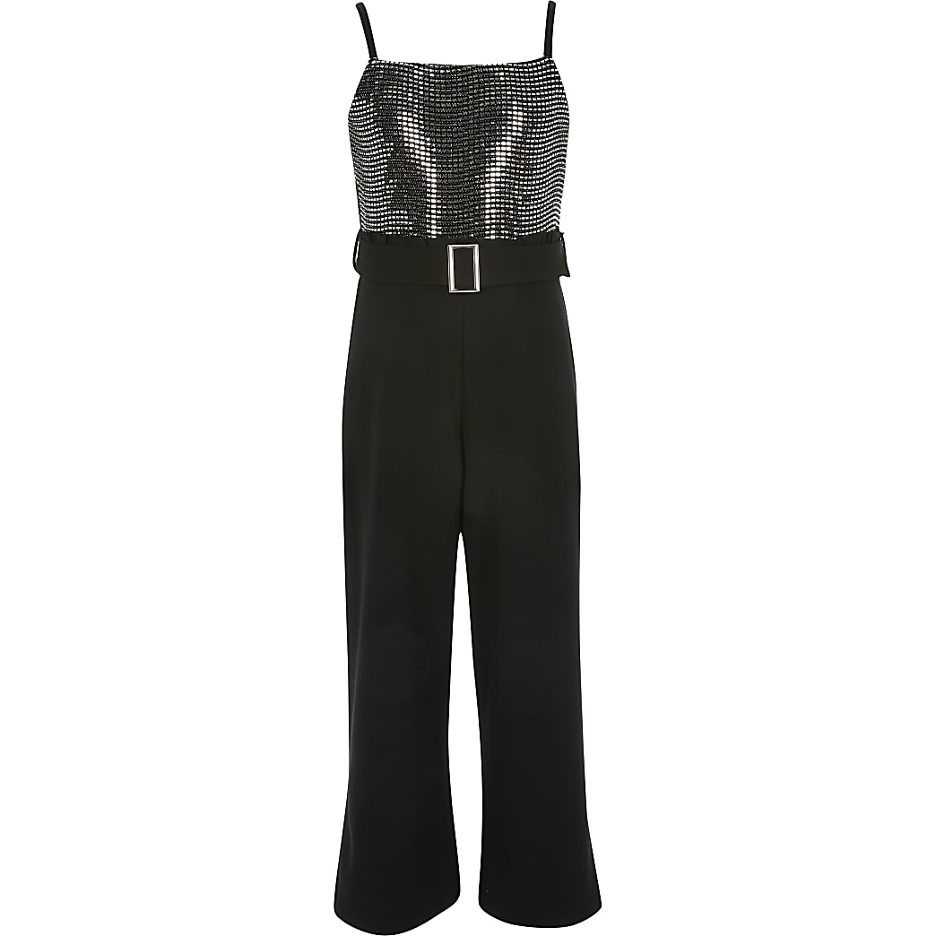 Girls black sequin frill waist jumpsuit
