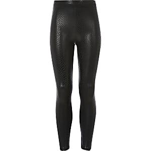 Zwarte legging met coating en slangenprint voor meisjes