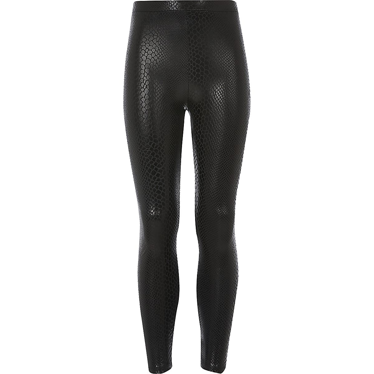 Girls black snake print coated leggings