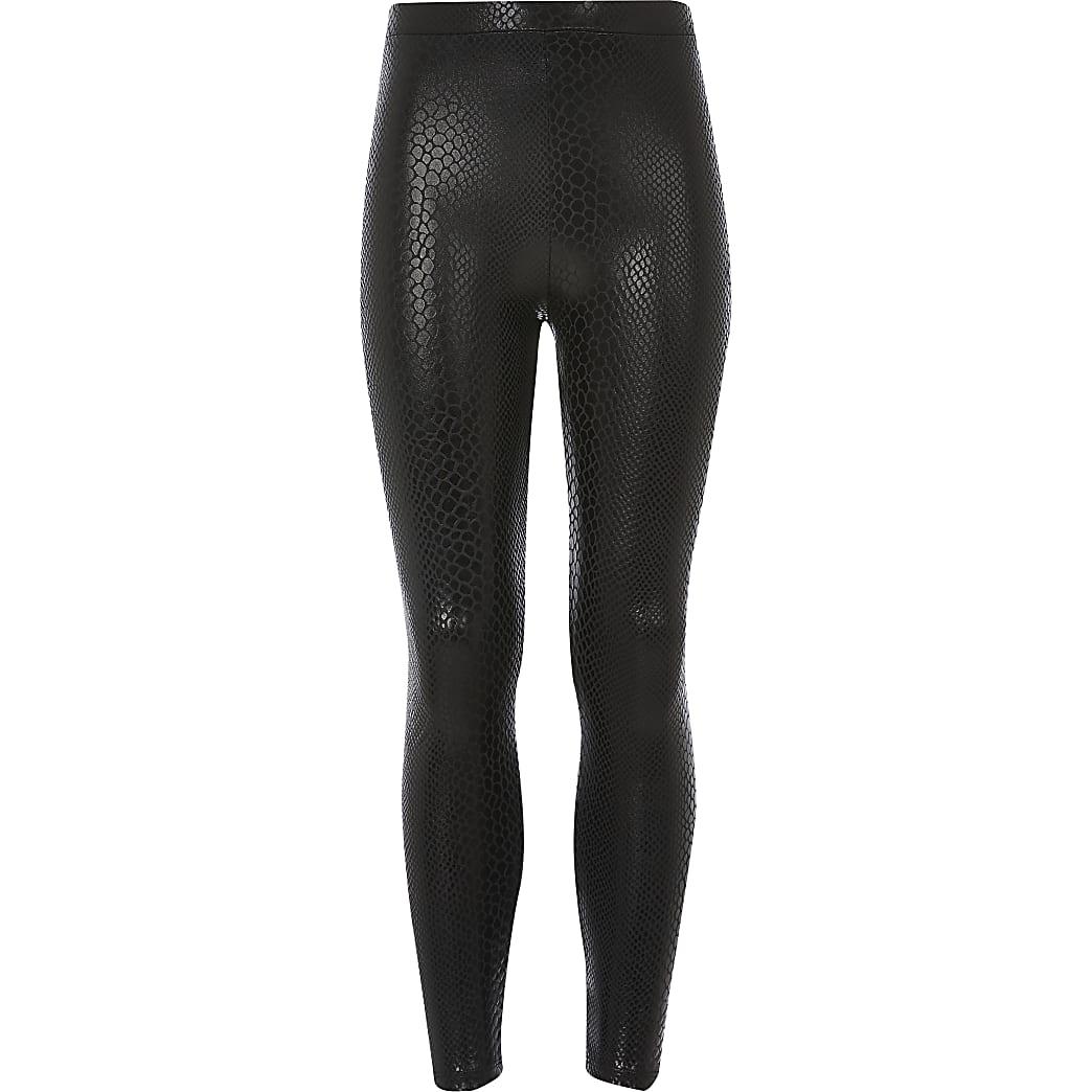 Girls black snake print coated leggings