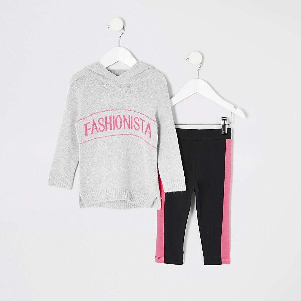 Mini girls grey 'Fashionista' hoodie outfit