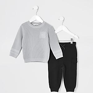 Mini - Grijze gebreide trui outfit voor jongens