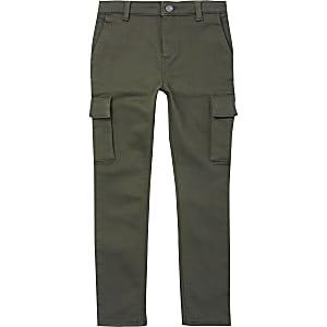 Pantalon slim utilitaire kaki pour garçon