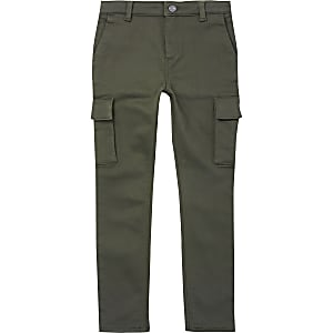 Kaki utility smalle broek voor jongens