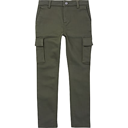 Boys khaki utility slim trousers
