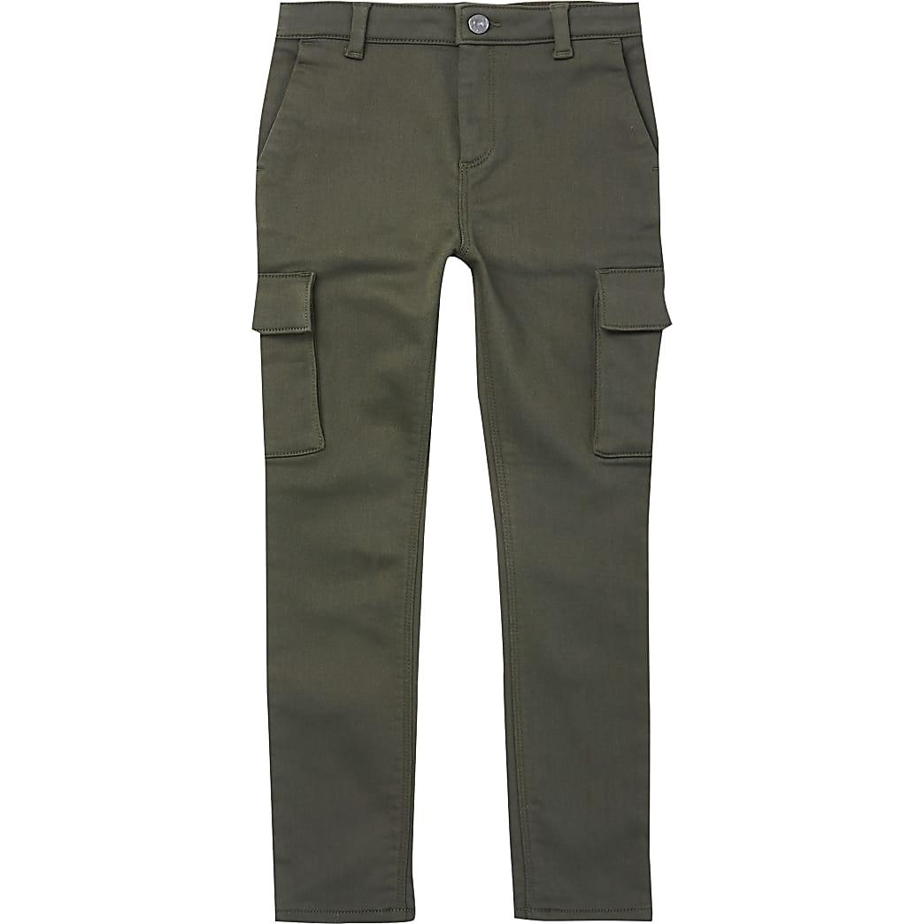 Boys khaki utility slim trousers