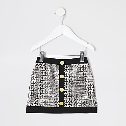 Mini girls black boucle A line skirt