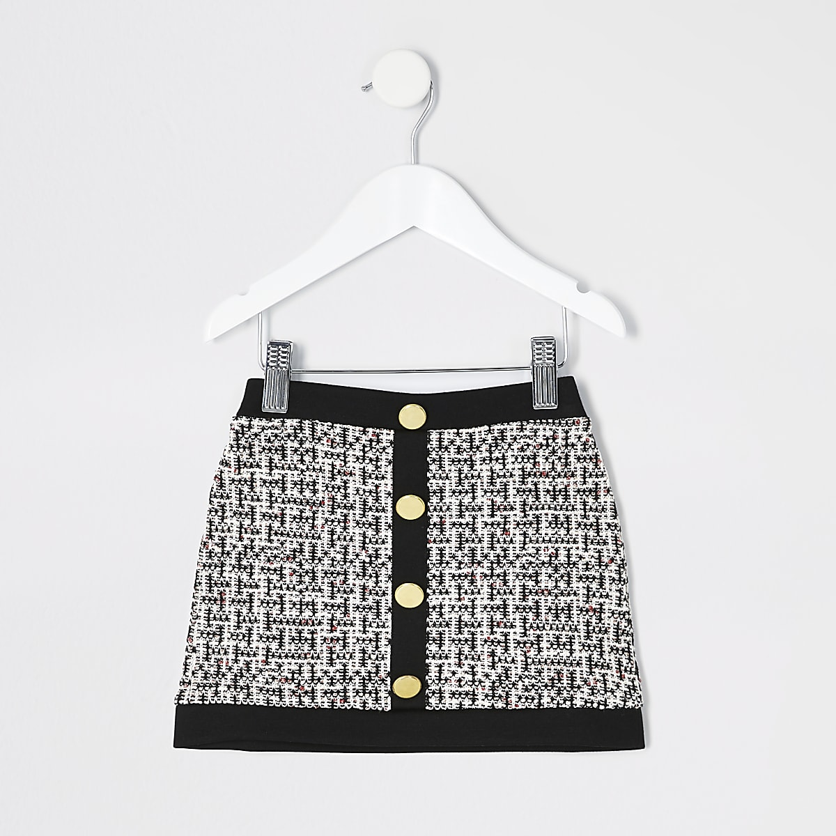 Mini girls black boucle A line skirt