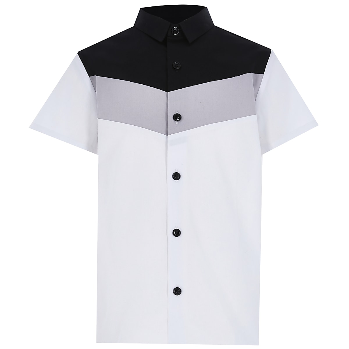 Boys white chevron colour block shirt