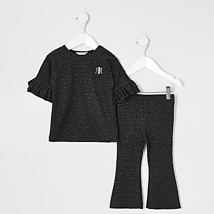 Mini girls black stripe flare co-ord outfit